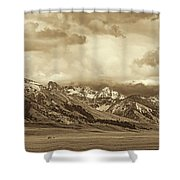 Tobacco Root Mountain Range Montana Sepia Shower Curtain by Jennie Marie Schell