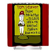 Tom Seaver Cincinnati Reds Shower Curtain by Jay Perkins