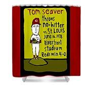 Tom Seaver Cincinnati Reds Shower Curtain by Jay Perkins