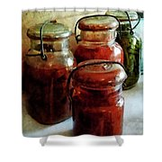 Tomatoes And String Beans In Canning Jars Shower Curtain by Susan Savad