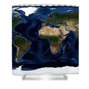Topography Map Of The World Shower Curtain by Sebastian Musial