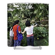 Tourists Viewing The Colorful Birds Shower Curtain by Ashish Agarwal