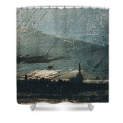 Town At Dusk Shower Curtain by Victor Hugo