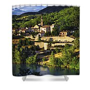 Town Of Sisteron In Provence Shower Curtain by Elena Elisseeva