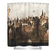 Town with a Broken Bridge Shower Curtain by Victor Hugo