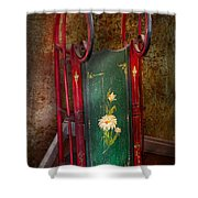 Toy - Sled - Fun Memories With My Sled  Shower Curtain by Mike Savad