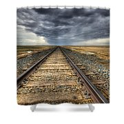 Tracks Across The Land Shower Curtain by Bob Christopher