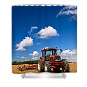 Tractor in plowed field Shower Curtain by Elena Elisseeva