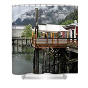 Tracys Crab Shack Shower Curtain by Cathy Mahnke