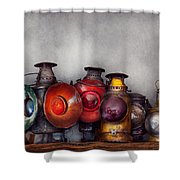 Train - A Collection Of Rail Road Lanterns  Shower Curtain by Mike Savad