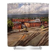 Train - Entering The Train Yard Shower Curtain by Mike Savad