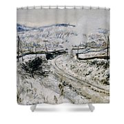 Train In The Snow At Argenteuil Shower Curtain by Claude Monet