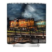 Train - Let's Go For A Spin Shower Curtain by Mike Savad