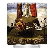 Transfiguration Of Christ On Mount Tabor 1455 Giovanni Bellini Shower Curtain by Karon Melillo DeVega