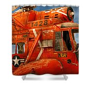 Transportation - Helicopter - Coast Guard Helicopter Shower Curtain by Mike Savad