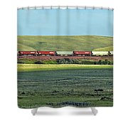 Transportation. Panorama With A Train. Shower Curtain by Ausra Paulauskaite
