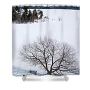 Tree And The Point In Winter Shower Curtain by Rob Huntley