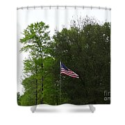 Trees And Flag Shower Curtain by Joseph Baril