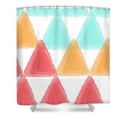 Trifold- Colorful Abstract Pattern Painting Shower Curtain by Linda Woods