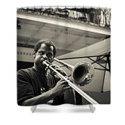 Trombone In New Orleans Shower Curtain by David Morefield