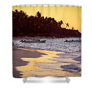 Tropical Beach At Sunset Shower Curtain by Elena Elisseeva
