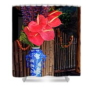 Tropical Flowers In A Porcelain Vase Shower Curtain by Karon Melillo DeVega
