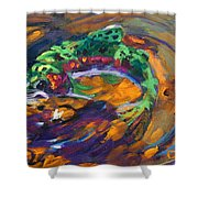 Trout And Fly Shower Curtain by Savlen Art