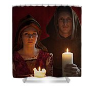 Tudor Medieval Young Attractive Couple  Holding  Candles Shower Curtain by Lee Avison