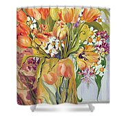Tulips And Narcissi In An Art Nouveau Vase Shower Curtain by Joan Thewsey