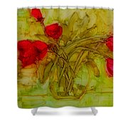 Tulips In A Glass Vase Shower Curtain by Patricia Awapara