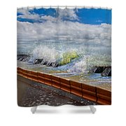 Tumbling Notes Shower Curtain by Betsy C  Knapp