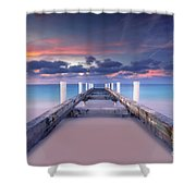 Turquoise Paradise Shower Curtain by Marco Crupi