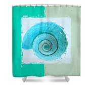 Turquoise Seashells X Shower Curtain by Lourry Legarde