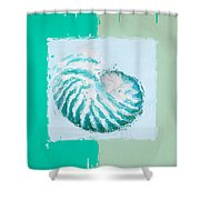 Turquoise Seashells XII Shower Curtain by Lourry Legarde