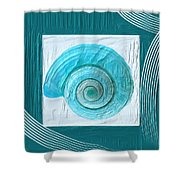 Turquoise Seashells Xvii Shower Curtain by Lourry Legarde