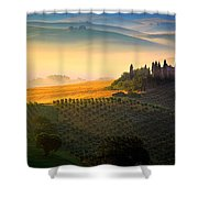 Tuscan Dawn Shower Curtain by Inge Johnsson