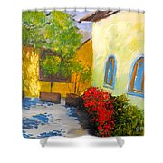 Tuscany Courtyard 2 Shower Curtain by Pamela  Meredith