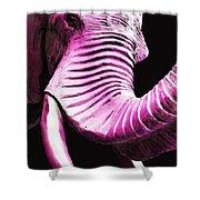 Tusk 2 - Pink Elephant Art Shower Curtain by Sharon Cummings