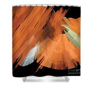 Tutu Stage Left Peach Abstract Shower Curtain by Andee Design