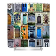 Twenty Four French Doors Collage Shower Curtain by Georgia Fowler
