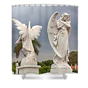 Two Angels With Cross Shower Curtain by Terry Reynoldson