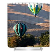 Two Balloons In Morning Sunshine Shower Curtain by Carol Groenen