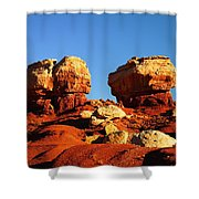 Two Big Rocks At Capital Reef Shower Curtain by Jeff Swan