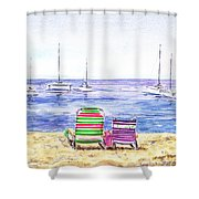 Two Chairs On The Beach Shower Curtain by Irina Sztukowski