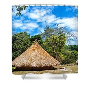 Two Indigenous Huts Shower Curtain by Jess Kraft
