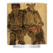Two Seated Boys Shower Curtain by Egon Schiele
