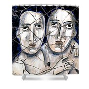 Two Souls - Study No. 1 Shower Curtain by Steve Bogdanoff