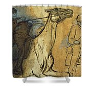 Two Studies Of Riders Shower Curtain by Edgar Degas