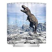 Tyrannosaurus Rex Dinosaur In A Snowy Shower Curtain by Elena Duvernay