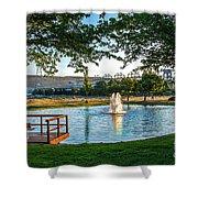 Umatilla Fountain Pond Shower Curtain by Robert Bales